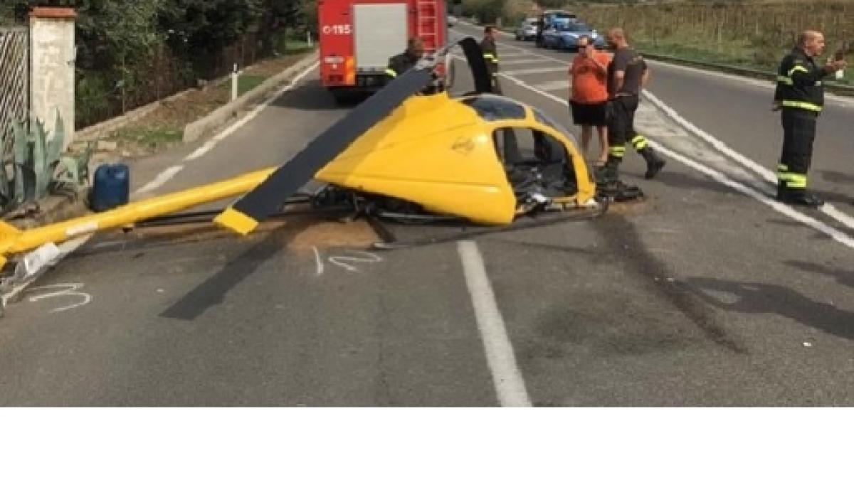 Elicottero Interno : Elicottero precipita e investe un auto
