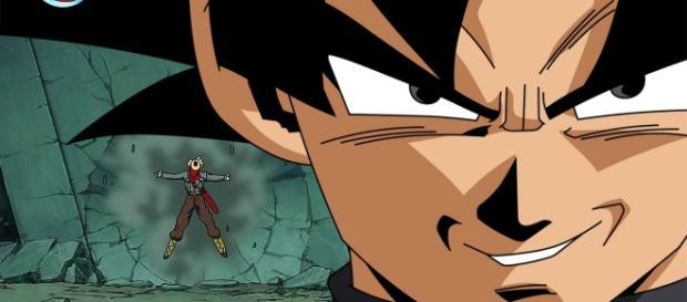Black Goku derrotando a Trunks en el futuro