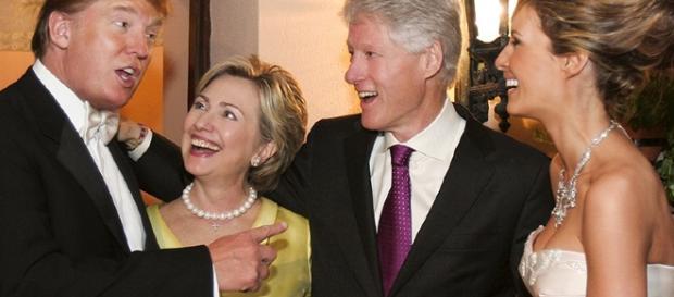 Hillary Clinton and Bill Clinton at Donald Trump's Wedding Photo - people.com