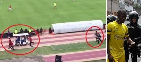 Correndo risco de ser preso, atacante do Equador sai de campo em uma maca.