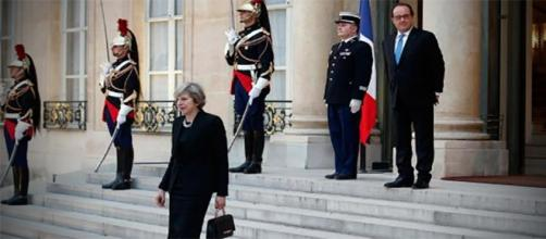 Hollande May en una recepción en el Eliseo