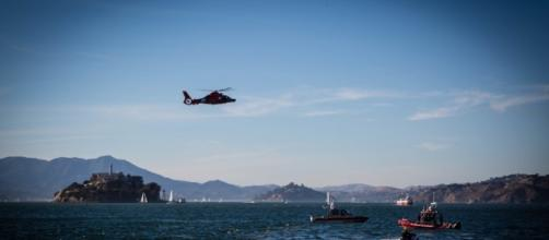 The Coast Guard, local agencies and civilians responded to a sailboat that capsized in San Francisco Bay with 30 people aboard. (U.S. Coast Guard)