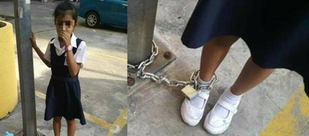 Menina é acorrentada em estacionamento por faltar às aulas