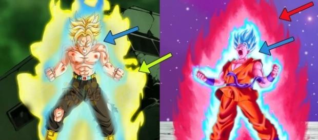 Trunks SSJ Dios Azul en SSJ y Goku SSJ Dios Azul en Kaioken