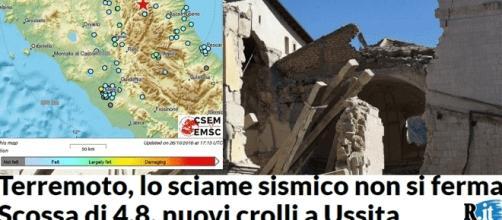 En points bleus, les localités où le séisme du 1er nov. a été ressenti (montage images La Reppubblica/CSEM, Jef T. – Blasting News)