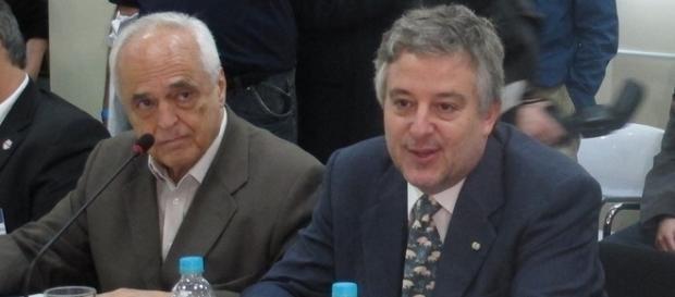 Os presidentes do São Paulo, Carlos Augusto de Barros e Silva, e do Palmeiras, Paulo Nobre
