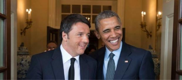 Il premier Matteo Renzi in compagnia di Barack Obama