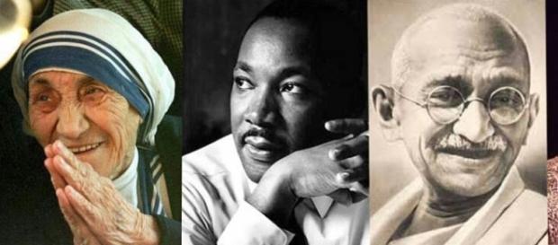 Santa Teresa de Calcuta, Martin Luther King, Mahatma Gandhi, Nelson Mandela