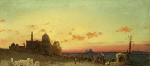 "Hermann Corrodi ""View of the tomb of the caliphs with the pyramids of Giza beyond"""