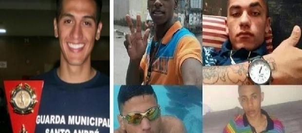 Na foto quatro dos cinco adolescentes mortos e o guarda civil.