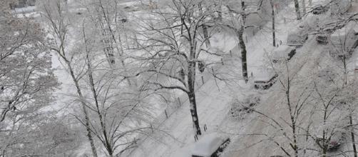 Berlino durante l'inverno, ricoperta di neve
