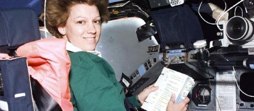 Eileen Collins aboard the space shuttle