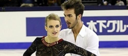 Gabriella Papadakis and Guillaume Cizeron of France won the ice dancing short program at the 2016 Trophee de France. David W. Carmichael/Wikimedia