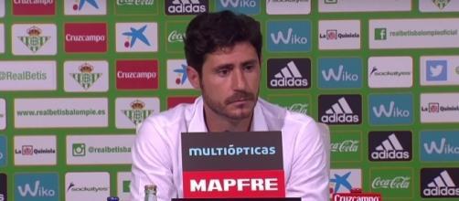 Víctor Sánchez del Amo en la sala de prensa del Benito Villamarín