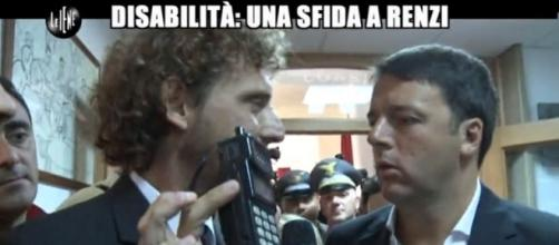 La iena Filippo Roma parla di disabili con Renzi