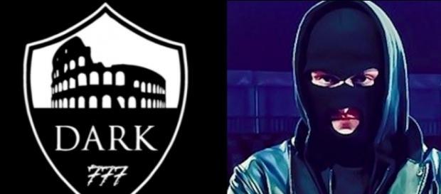A sinistra il logo della Dark Polo Gang, a destra MezzoSangue.