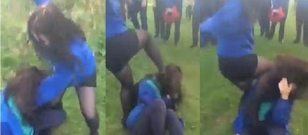Momento que menina é agredida brutalmente.