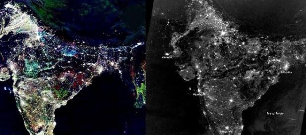 Cores da Índia vista do espaço