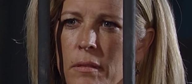'General Hospital' on Wednesday, November 16 Carly visits Sonny in jail (via YouTube CarlyBabes)