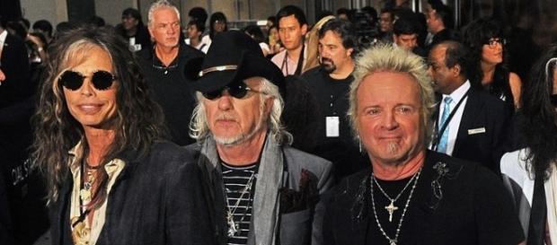 Una recente immagine degli Aerosmith. Manca Perry, il chitarrista.