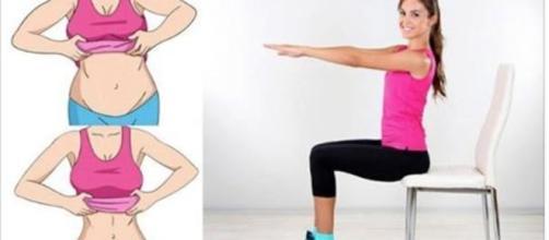 exercícios para o abdômen realizados com uma cadeira