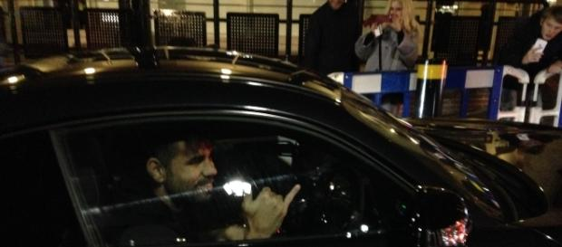 Diego Costa leaving Stamford Bridge, 23/10 after a game. photo own work