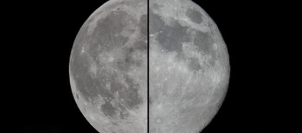 Lua Cheia normal, à esquerda, comparada à Superlua.