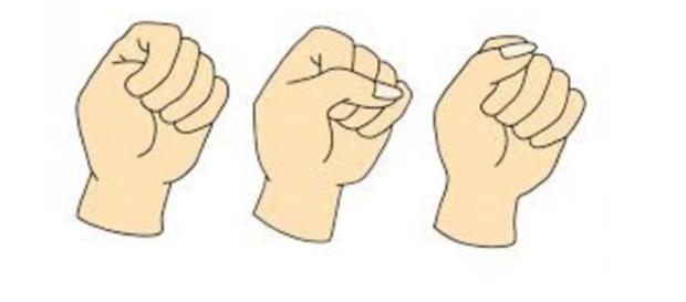 Três tipos de fechamento de mão