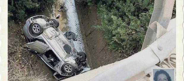Il terribile volo della Ford Focus: nella foto piccola in basso a destra la vittima Rita Cossu.