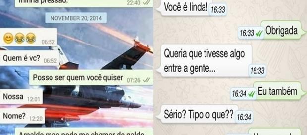 Mensagens de cantadas enviadas pelo WhatsApp