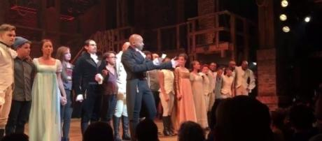 "Cast of ""Hamilton"" address Mike Pence, via Twitter"