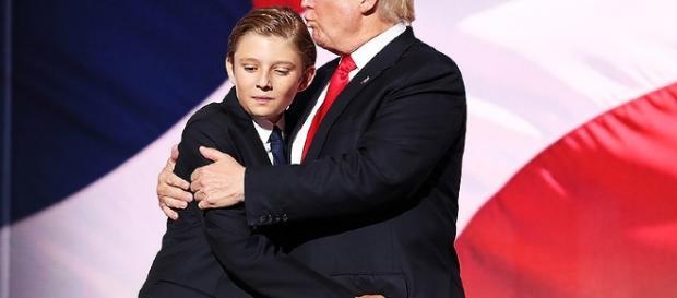 Lookalike Barron Trump Yawns His Way Through Father Donald Trump's ... - people.com