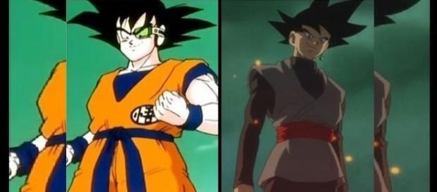 Ginyu usando el cuerpo de Goku y Black en el episodio 47