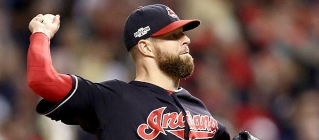 Indians' ace Corey Kluber on the mound in the 2016 MLB Postseason. Photo by Maddie Meyer/Getty Images