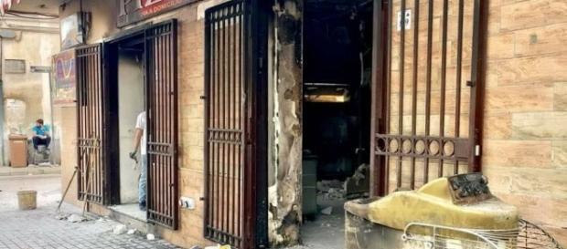 La pizzeria distrutta dall'incendio