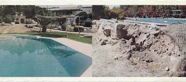 La villa prima (a sinistra) e a destra le condizioni in cui è stata trovata.