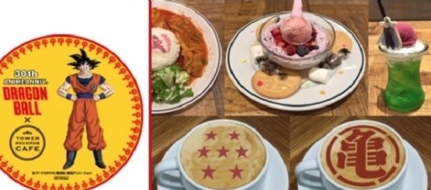 Portavasos de Goku y algunas de las especialidades que pueden disfrutar los fans en los cafés de Tower Records.
