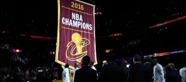 The Cleveland Cavaliers banner ceremony before their first game of the 2016-17 season against the New York Knicks. Photo by Phil Long/AP Photo