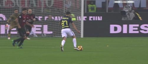 Milan-Inter, il pareggio momentaneo di Antonio Candreva