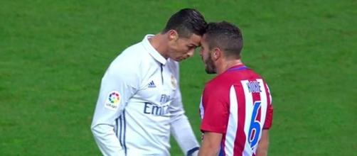 Cristiano Ronaldo e Koke testa a testa.