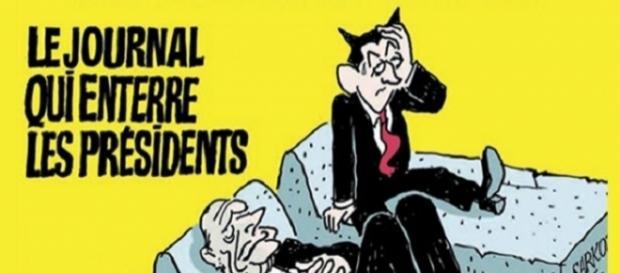 Portada del número 1.000 de 'Charlie Hebdo', donde mostraba a Sarkozy todavía vivo políticamente, al contrario que sus antecesores Mitterrand y Chirac