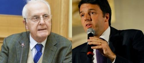 Il costituzionalista Alessandro Pace, presidente del Comitato per il No (a sinistra) e il Premier Matteo Renzi (a destra)