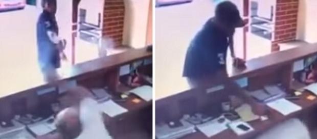 Imagens flagram criminoso atirando contra funcionário