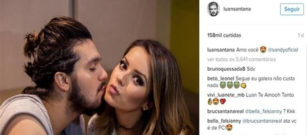 Publicação em homenagem a Sandy feita por Luan Santana em seu Instagram.