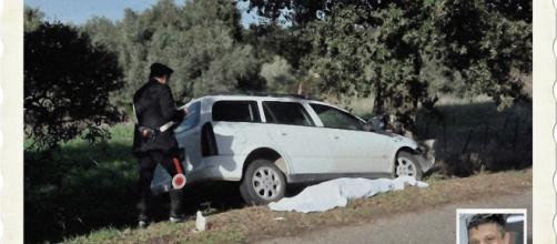 L'auto ha colpito in pieno un'albero secolare e Roberto Cossa, nella foto piccola in basso a destra, è morto sul colpo.