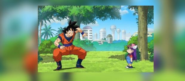 Goku y Arale en el episodio 69.