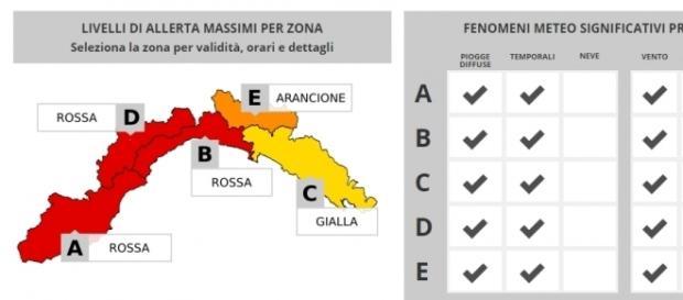 Maltempo Liguria - Allerta massima su tutta la regione (fonte allertaliguria.gov)