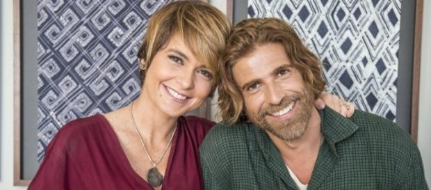 A atriz Claudia Abreu e o ator Reynaldo Gianecchini nas gravações da novela
