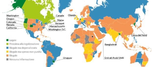 L'uso di marijuana nel mondo in una mappa pubblicata da repubblica.it