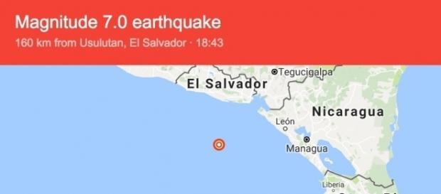 Scossa di magnitudo 7.2 in America Centrale. Allerta tsunami.